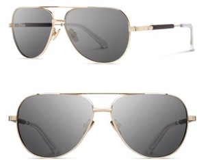 Shwood Women's 'Redmond' 53Mm Titanium & Wood Aviator Sunglasses - Gold/ Ebony/ Grey