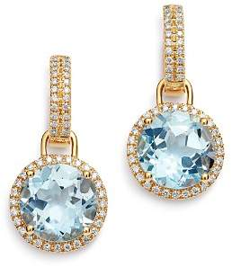 18K Yellow Gold Grace Round Blue Topaz & Diamond Drop Earrings