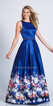 Dave and Johnny Satin Criss Cross Back A Line Prom Dress