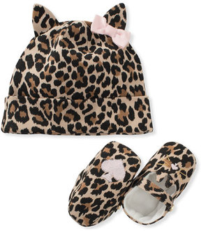 Kate Spade Leopard-Print Baby Hat & Mary Jane Crib Shoe Set