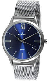 Peugeot Men's Blue Mesh Stainless Steel Watch