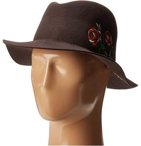 San Diego Hat Company WFH8051 Floppy Round Crown with Floral Embroidery Caps