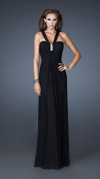 La Femme 18755 Crystal Accent V-Strap Sweetheart Empire Gown