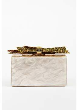 Edie Parker Pre-owned Metallic Gold Pearlescent Acrylic Ribbon wolf Box Clutch Bag.