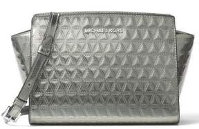 Michael Kors Selma Leather Triangle Quilted Medium Messenger Handbag - Metalic Grey - 30H7SLMM2K-041 - ONE COLOR - STYLE