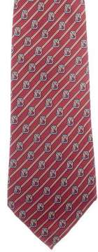Hermes Buckle & Ribbon Print Silk Tie