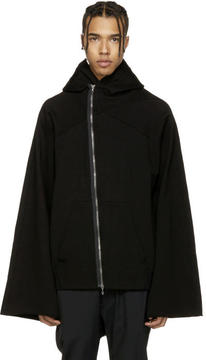 Julius Black Asymmetric Patch Zip-Up Hoodie
