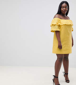 Fashion Union Plus Off Shoulder Dress With Ruffle In Broderie
