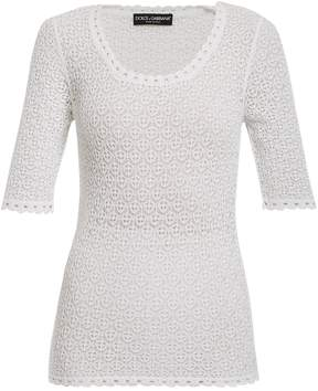 Dolce & Gabbana Round scoop-neck lace-knit top