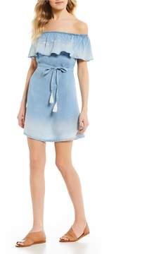 Celebrity Pink Off-The-Shoulder Denim Shift Dress