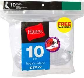 Hanes Boys' Crew Sock, 10 Pack Plus 1 Bonus