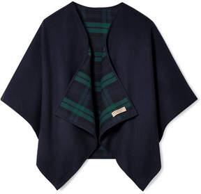 Burberry Reversible Checked Merino Wool Wrap - Navy