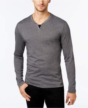 Alfani Men's Heather Long-Sleeve Split Crewneck T-Shirt, Created for Macy's