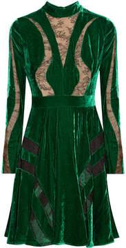 Elie Saab Lace-paneled Crushed-velvet Dress - Forest green