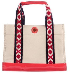 Tory Burch Embroidered-Trim Canvas Tote - NEUTRALS - STYLE