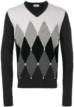 Ballantyne diamond patterned V-neck jumper