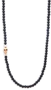 King Baby Studio Beaded Onyx Skull Charm Necklace