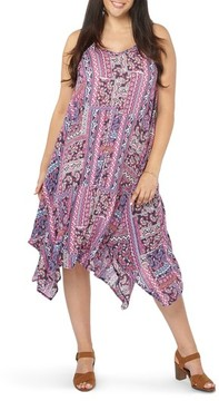 Evans Plus Size Women's Handkerchief Hem Print A-Line Dress