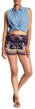 Angie Printed Crochet Trim Drawstring Shorts