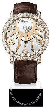 Chopard Happy Sun Diamond 18 kt Rose Gold Sun Brown Leather Ladies Watch
