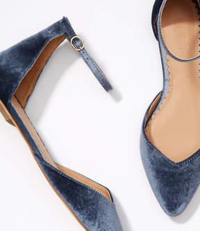 LOFT Velvet Ankle Strap Flats