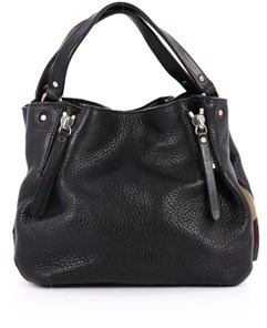 Burberry Pre-owned: Maidstone Convertible Satchel Leather And House Check Canvas Small. - BLACK - STYLE