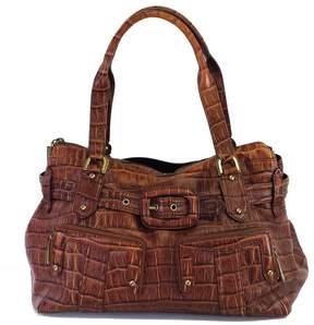 Cole Haan Brown Croc Embossed Leather Shoulder Bag