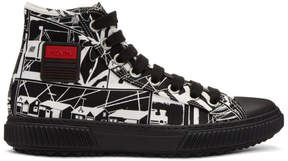 Prada Black and White Comic High-Top Sneakers