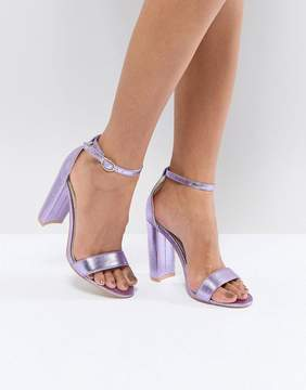 Glamorous Metallic Purple Barely There Block Heeled Sandals