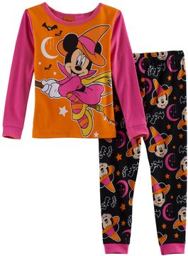 Disney Disney's Minnie Mouse Toddler Girl Striped Halloween Glow in the Dark Top & Pants Pajama Set