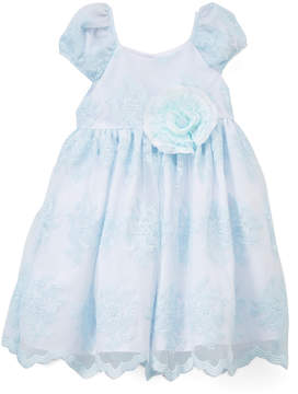 Laura Ashley Blue Floral Lace Cap-Sleeve Dress - Toddler & Girls