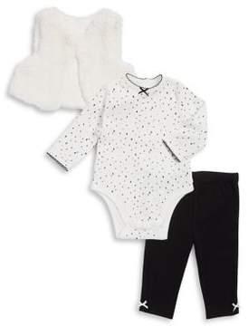 Little Me Baby Girl's Three-Piece Dalmatian Cotton Bodysuit, Leggings and Faux Fur Vest Set