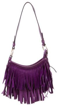 Saint Laurent Suede Fringe-Trimmed Bag - PURPLE - STYLE