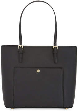MICHAEL Michael Kors Jet Set snap pocket saffiano leather tote - BLACK - STYLE