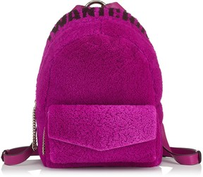 Jimmy Choo CASSIE Magenta and Grape I WANT CHOO Logo Intarsia Sherling Backpack