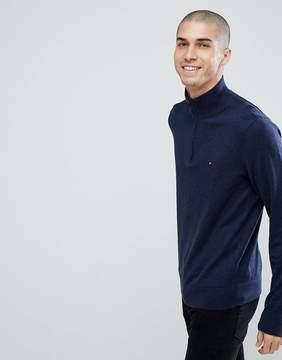Tommy Hilfiger Half Zip Knit Sweater Plaited Cotton Silk in Navy