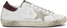 Golden Goose Deluxe Brand White and Burgundy Superstar Sneakers