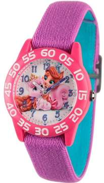 Disney Palace Pet Dreamy and Treasure Girls' Pink Plastic Time Teacher Watch, Reversible Purple and Blue Nylon Strap