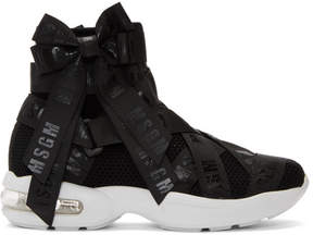 MSGM Black Mesh Logo Ribbons High-Top Sneakers