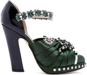 No.21 NO. 21 Crystal-embellished satin and leather pumps