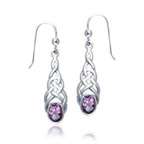 Celtic Bling Jewelry Knot Work Amethyst Sterling Silver Drop Earrings.