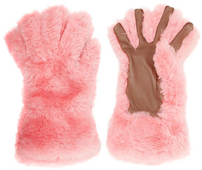 Marni - Leather-trimmed Shearling Gloves - Pink