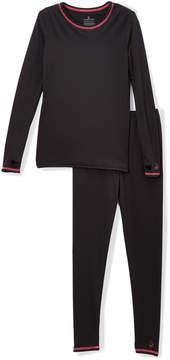 Cuddl Duds Black & Pink Comfortech Base Layer Top & Leggings - Girls