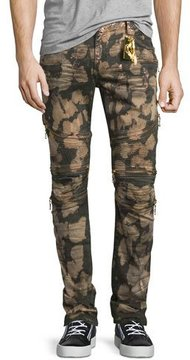 Robin's Jeans Dusty Road Coated Moto Denim Jeans, Red