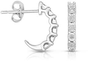 JCPenney FINE JEWELRY TruMiracle 1/10 CT. T.W. Diamond Sterling Silver C-Hoop Earrings