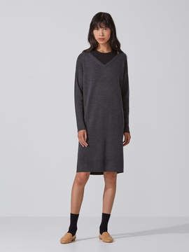 Frank and Oak Machine-Washable Merino Sweater Dress in Carbon