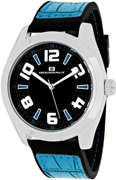 Oceanaut Vault Mens Black Dial and Blue Silicone Strap Watch