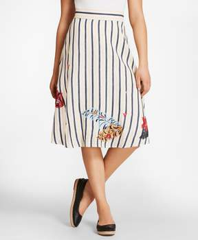 Brooks Brothers Floral-Embroidered Striped Linen Skirt