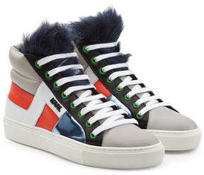 Karl Lagerfeld Leather High Tops with Faux Fur