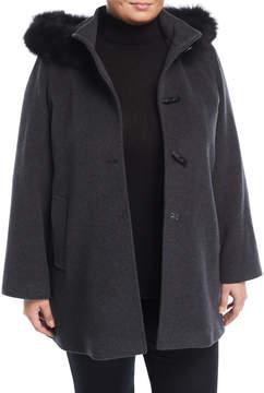 Cinzia Rocca Plus Toggle Coat with Detachable Fur-Trim Hood, Plus Size